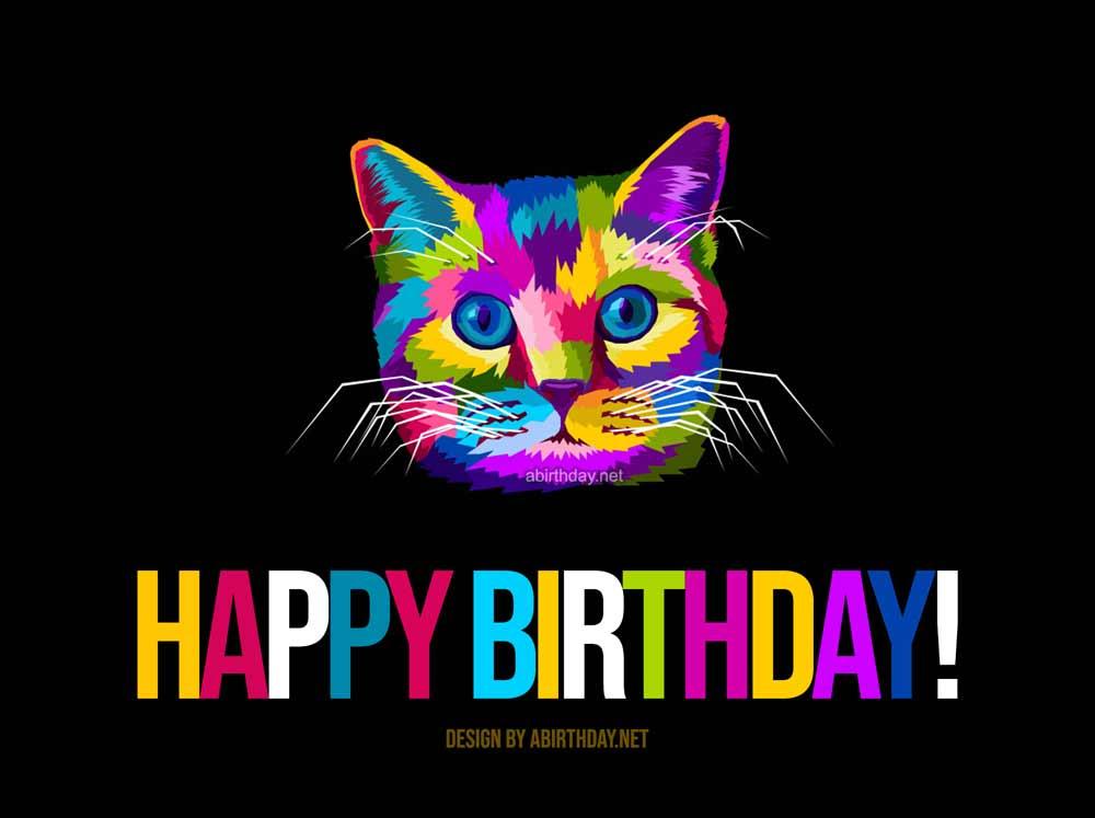 Colourful Pop Cat Birthday Meme